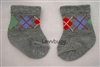 Gray Argyle Socks Booties for Baby or Girl/Boy Doll Accessory or Preemie