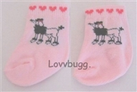 Pink Poodle Socks Booties for 18 inch American Girl or 15 inch Bitty Baby Doll Clothes
