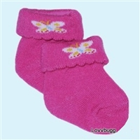 Hot Pink Butterfly Socks Booties for 18 inch American Girl or 15 inch Bitty Baby Doll Clothes