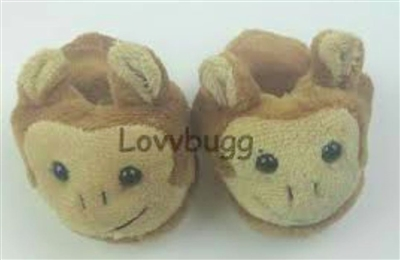 SALE Monkey Slippers 15 to 18 inch American Girl Doll Shoes