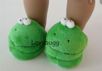 Silly Frog Slippers for American Girl 18 inch or Bitty Baby 15 inch Doll Clothes Shoes