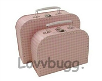 L Pink Gingham Suitcase for 18 inch American Girl, Baby or Wellie Wishers Doll Accessories Storage