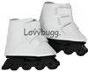 White Inline Roller Skates Blades Black Trucks 18 inch American Girl or Bitty Baby Doll Shoes
