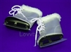 Silver Furry Ice Skates 18 inch American Girl or Bitty Baby Doll Shoes