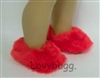 "Red Fuzzy Slippers for 18"" American Girl and Bitty Baby Doll Shoes"