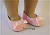 Pink Suede Ballet Bow Flats 18 inch American Girl Doll Shoes