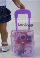 "Lavender Rolling Doll Suitcase w/ makeup for 18"" American Girl Doll Accessory"
