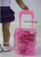 Pink Rolling Doll Suitcase 18 inch American Girl Doll Accessory