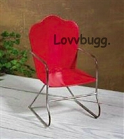 Red Metal Retro Lawn Chair 18 inch American Girl Doll Furniture