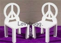 Pair of Peace Chairs 18 inch American Girl Julie Doll Furniture