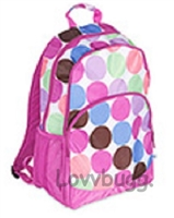 SALE Full Size Purply-Pink Dots Backpack Suitcase 18 inch American Girl Doll Fits Inside! Storage Playdate Accessory