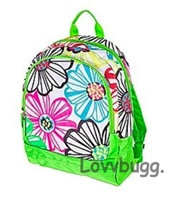 SALE Full Size Lime Floral Backpack Trunk Suitcase 18 inch American Girl Doll Fits Inside! Storage Playdate Accessory