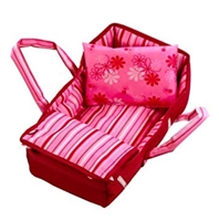 Gotz Wine & Pink Stripes Carry Bed up-to 13 inch  Doll Accessory