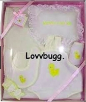 "Yellow Duck Baby Girl Layette Set Clothes Carrier Bib Blanket for 18"" Doll or 15"" Bitty Baby Accessory"