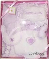 "Lavender Baby Girl Layette Set Clothes Carrier Bib Blanket for 18"" Doll or 15"" Bitty Baby Accessory"