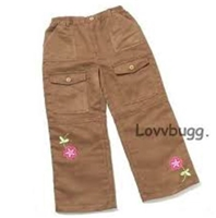 My Twinn Brown Suede Flower Pants 23' Doll Clothes