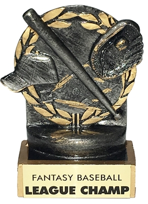 Angled bat fantasy baseball trophy by Bruno's Trophies