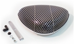 Air Cleaner Element Filter Assembly, Open Screen Triangular Fresh Air Style, Chrome
