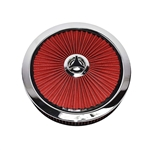 "Extraflow 14"" X 3"" Air Cleaner Assembly, RED Open Element with Breathe Thru Top, Washable Filter and Star Wingnut"
