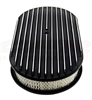 "1967 - 1992 Camaro Air Cleaner Assembly, 15"" Oval Open Element, BLACK ALUMINIUM FULL FINNED"