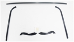 1970 - 1981 Camaro and Firebird Front Windshield Moldings Kit, BLACK ANODIZED with Plastic Clips and Plastic Corners