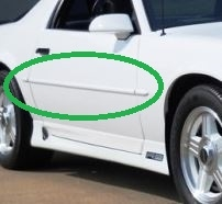 1987 - 1992 Camaro Body Side Trim Molding Set with Pointed Ends