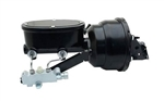 1967 - 1981 Power Brake Booster / Master Cylinder / Proportioning Valve Kit with Brackets: 8 Inch Dual Diaphragm, Black Powder Coated Booster, Oval Black M/C with Pro Valve