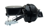 1967 - 1981 Power Brake Booster / Master Cylinder / Proportioning Valve Kit with Brackets: 9 Inch Dual Diaphragm, Black Powder Coated Booster, Oval Black M/C with Pro Valve