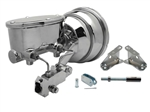 "Custom Camaro CHROME 8"" Power Brake Booster Kit with Oval Master Cylinder & Proportioning Valve Kit for Disc / Disc"