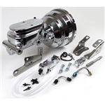 Custom Camaro Chrome Signature Series Brake Booster / Master Cylinder / Proportioning Valve Kit with Brackets: 8 Inch Dual Diaphragm, DISC / DRUM