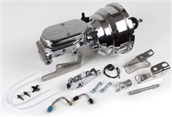 Custom Chrome Signature Series Brake Booster / Master Cylinder / Proportioning Valve Kit with Brackets: 8 Inch Dual Diaphragm, DISC / DISC