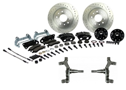 1967 - 1969 Brake Conversion Kit, Front Disc, Black Caliper, 2 Inch Drop, Signature Series
