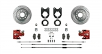 1967 - 1969 Brake Conversion Kit, Rear Disc for Staggered Shocks, Red Calipers, Signature Series