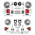 1967 - 1969 Brake Conversion Kit, All (Front and Rear Disc) for Stock Height Non-Staggered Shocks, Red Calipers, Signature series