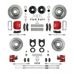 1967 - 1969 Brake Conversion Kit, All (Front and Rear Disc) for Stock Height Staggered Shocks, Red Calipers, Signature Series
