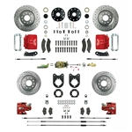 1967 - 1969 Brake Conversion Kit, All (Front and Rear Disc, Manual) for Stock Height Staggered Shocks, Red Calipers, Signature Series