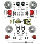 1967 - 1969 Brake Conversion Kit, All (Front and Rear Disc, Power) for Stock Height Staggered Shocks, Red Calipers, Signature Series