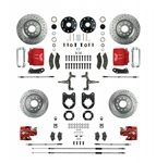 1967 - 1969 Brake Conversion Kit, All (Front and Rear Disc) for 2 Inch Drop Non-Staggered Shocks, Red Calipers, Signature Series
