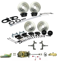 1967 - 1969 Brake Conversion Kit, All (Front and Rear Disc, Manual) for 2 Inch Drop Non-Staggered Shocks, Black Calipers, Signature Series