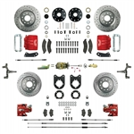 1967 - 1969 Brake Conversion Kit, All (Front and Rear Disc, Manual) for 2 Inch Drop Non-Staggered Shocks, Red Calipers, Signature Series