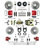 1967 - 1969 Brake Conversion Kit, All (Front and Rear Disc, Power) for 2 Inch Drop Non-Staggered Shocks, Red Calipers, Signature Series