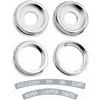 1967 Camaro Dash Knob Bezels Set with Decals for Wiper, Lights, Lighter and Ignition