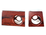 1969 Dash Plates Set, Rosewood / Cherrywood Woodgrain: Radio Plates Behind Knobs, GM Original Used