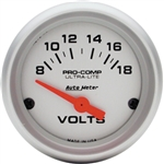Auto Meter Ultra-Lite Volt Gauge, Electric Short Sweep 2-1/16 Inch