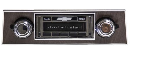 1967 - 1968 USA-630 Camaro Radio with AM/FM Stereo, USB, CD Control,  Auxiliary Input, with Walnut Bezel