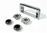 1969 Dash Radio Bezel and Knobs Kit, Chrome