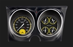 1967 - 1968 Dash Instrument Cluster Housing with Gauges (Autocross Series), Yellow, Custom OE Style
