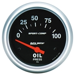 Oil Pressure Gauge (Auto Meter Sport Comp), Dash, 0-100 psi, 2 5/8 Inch, Analog, Electrical, Each