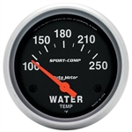 Water Temperature Gauge (Auto Meter Sport Comp), Dash, 100-250 Degrees F, 2 5/8 Inch, Analog, Electrical, Each