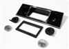 1967-1968 Dash Radio Bezel Face Plate and Knobs Kit - Black w/ Chrome